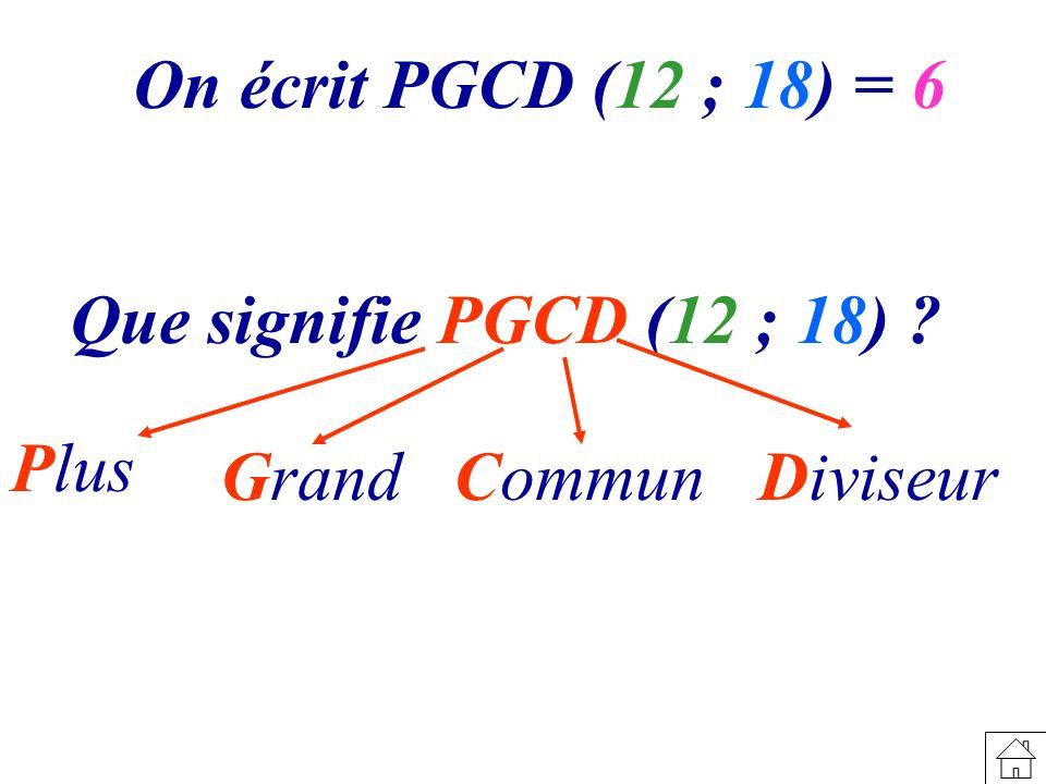 On écrit PGCD (12 ; 18) = 6 Que signifie PGCD (12 ; 18) ? Plus GrandCommunDiviseur