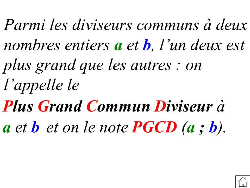 Parmi les diviseurs communs à deux nombres entiers a et b, lun deux est plus grand que les autres : on lappelle le Plus Grand Commun Diviseur à a et b