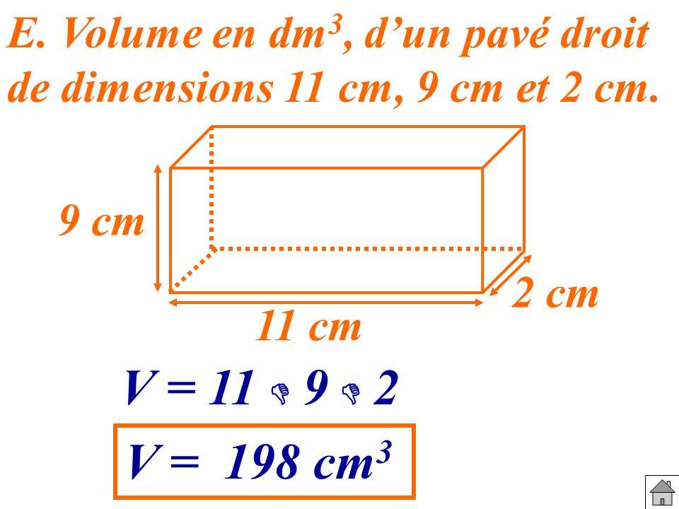 E. Volume en dm 3, dun pavé droit de dimensions 11 cm, 9 cm et 2 cm. 9 cm 11 cm 2 cm V = 11 9 2 V = 198 cm 3