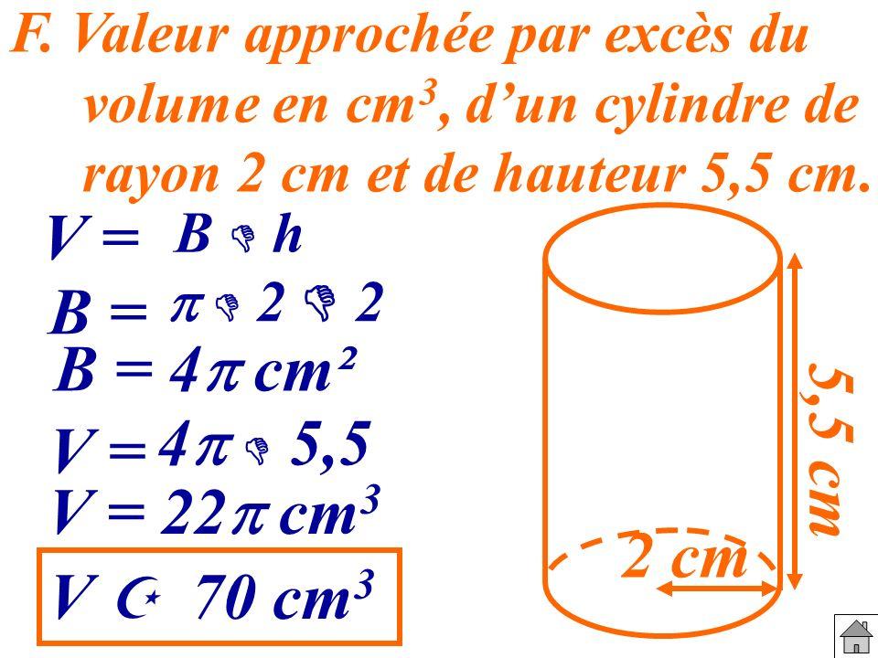 F. Valeur approchée par excès du volume en cm 3, dun cylindre de rayon 2 cm et de hauteur 5,5 cm. 2 cm 5,5 cm V = B h B = 2 2 B = 4 cm² V = 4 5,5 V =