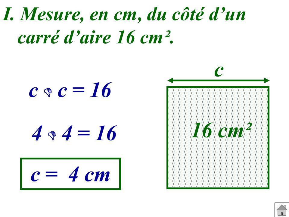 I. Mesure, en cm, du côté dun carré daire 16 cm². 16 cm² c c c = 16 4 4 = 16 c = 4 cm