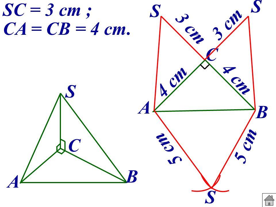 SC = 3 cm ; CA = CB = 4 cm. A B C S A B C 4 cm S 3 cm S 5 cm S