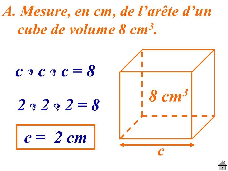 A. Mesure, en cm, de larête dun cube de volume 8 cm 3. 8 cm 3 c c c c = 8 2 2 2 = 8 c = 2 cm