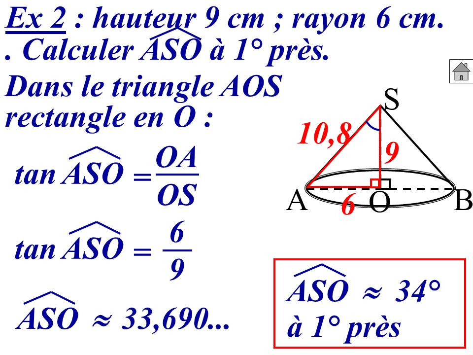 Ex 2 : hauteur 9 cm ; rayon 6 cm.. Calculer ASO à 1° près. S BA O Dans le triangle AOS rectangle en O : à 1° près 9 6 10,8 tan ASO = OA OS tan ASO = 6