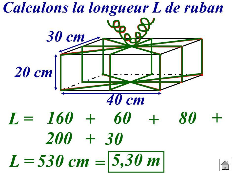 Calculons la longueur L de ruban 20 cm 30 cm 40 cm L = 8 20 + 2 30 + 2 40 + 4 50 +30 1606080 200 L =530 cm = 5,30 m