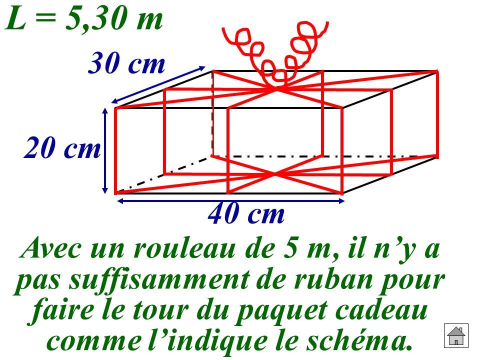 Avec un rouleau de 5 m, il ny a pas suffisamment de ruban pour faire le tour du paquet cadeau comme lindique le schéma. 20 cm 30 cm 40 cm L = 5,30 m