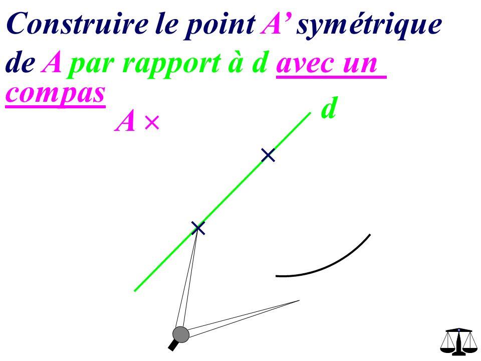 d A Construire le point A symétrique de A par rapport à d avec un compas