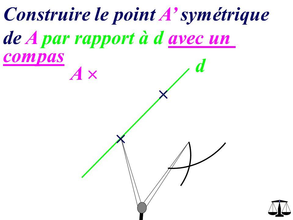 d A Construire le point A symétrique de A par rapport à d avec un compas A