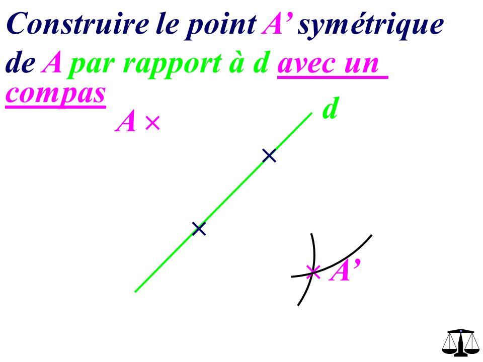 d A Construire le point A symétrique de A par rapport à d avec un quadrillage A 3 carreaux vers la droite 3 carreaux vers le bas