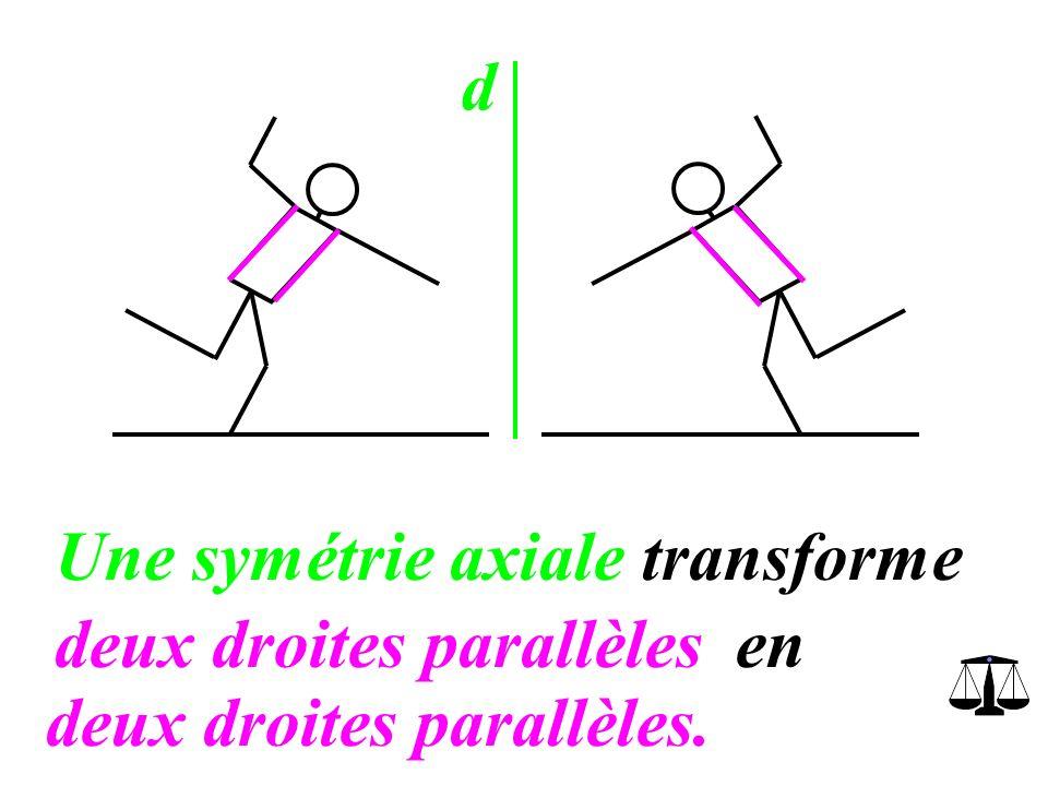 d Une symétrie axiale transforme deux droites perpendiculairesen deux droites perpendiculaires.