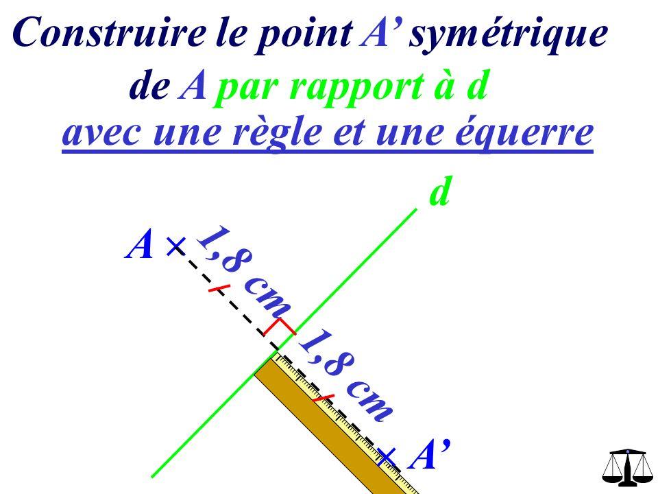 Construire le point A symétrique de A par rapport à d avec une règle et une équerre d A A
