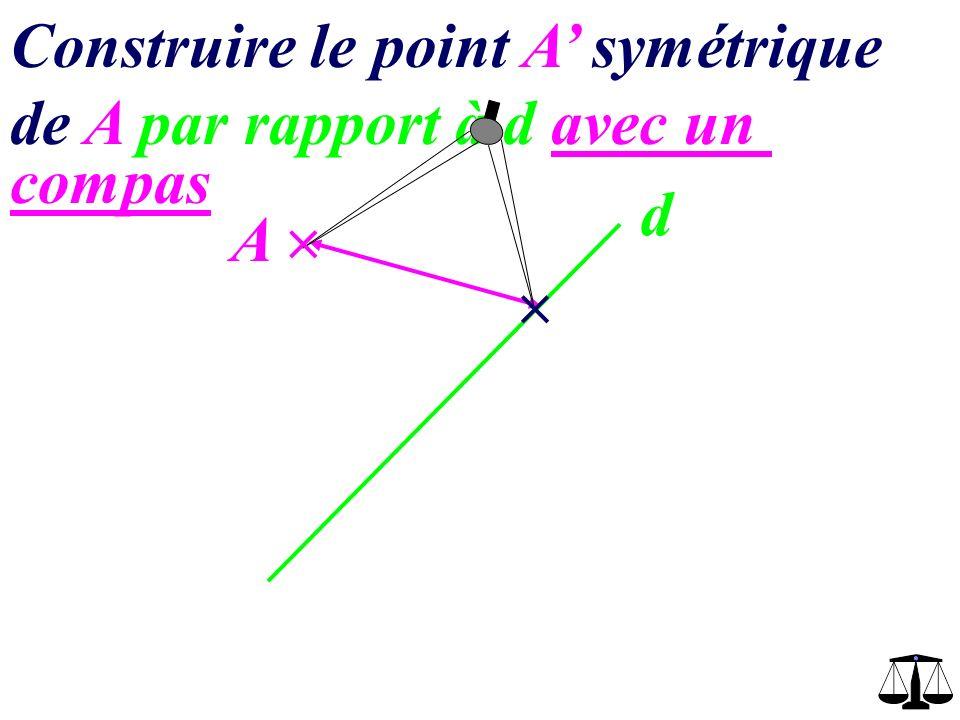 Construire le point A symétrique de A par rapport à d avec un compas d A