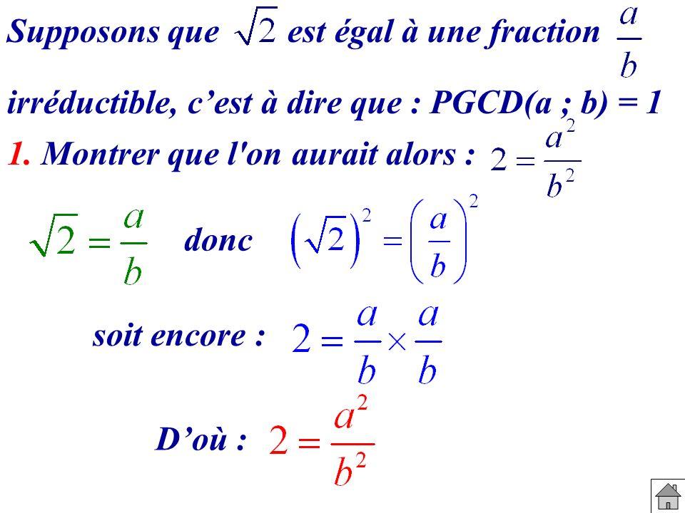 Supposons que est égal à une fraction irréductible, cest à dire que : PGCD(a ; b) = 1 1. Montrer que l'on aurait alors : donc soit encore : Doù :
