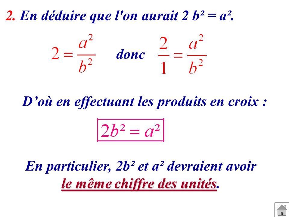 2. En déduire que l'on aurait 2 b² = a². donc Doù en effectuant les produits en croix : En particulier, 2b² et a² devraient avoir le même chiffre des
