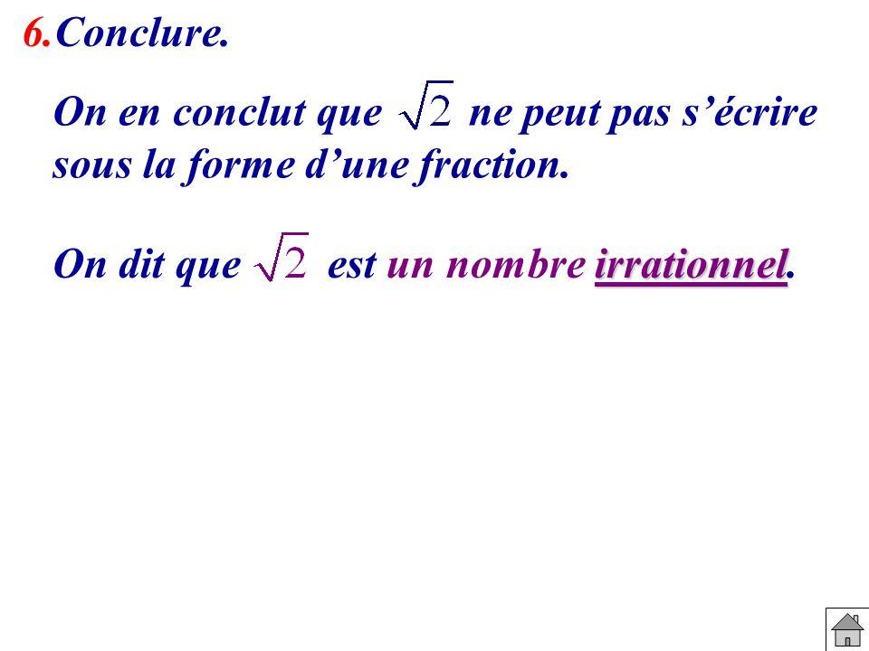 On en conclut que ne peut pas sécrire sous la forme dune fraction. irrationnel On dit que est un nombre irrationnel. 6.Conclure.