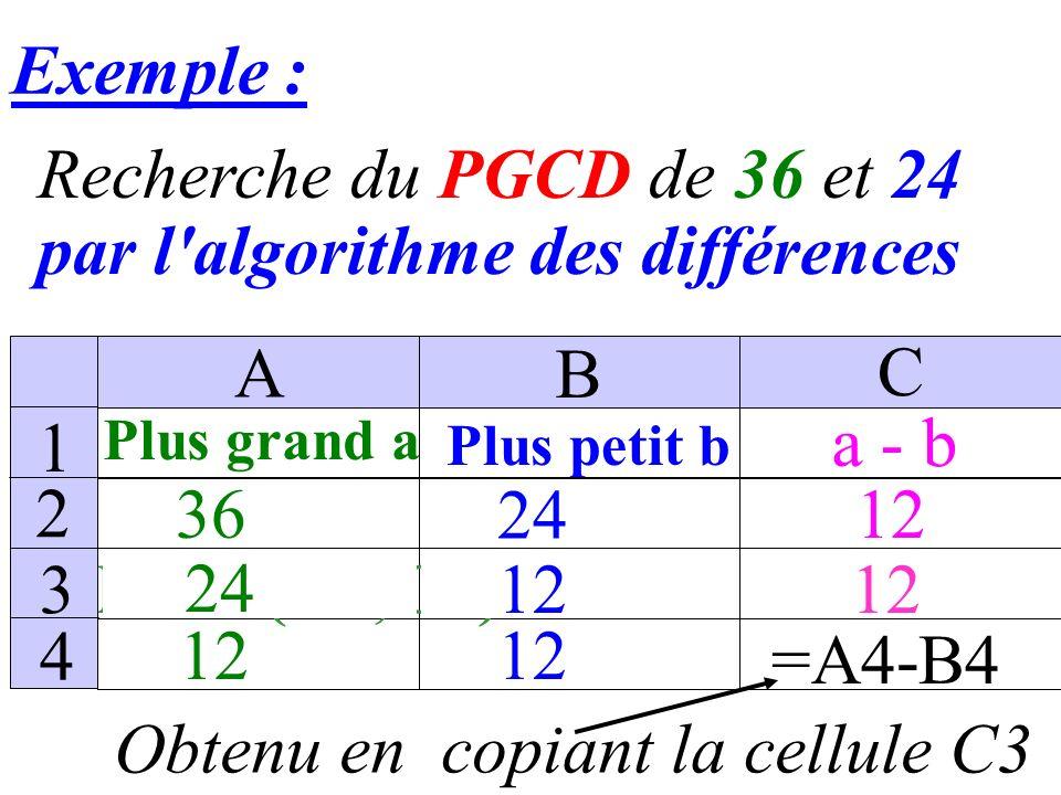 Exemple : Recherche du PGCD de 36 et 24 par l algorithme des différences 36 Plus grand a Plus petit b a - b = MAX(B2;C2) 12 24 12 A B C 1 2 3 4 =A1-B1 12 24 12 0
