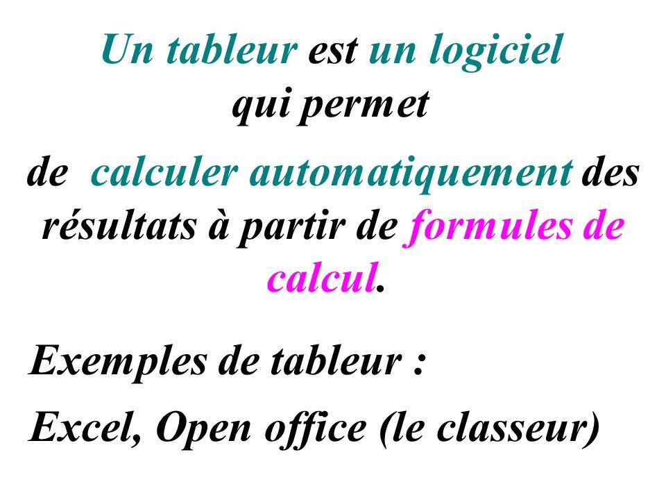Un tableur est un logiciel qui permet de calculer automatiquement des résultats à partir de formules de calcul. Exemples de tableur : Excel, Open offi