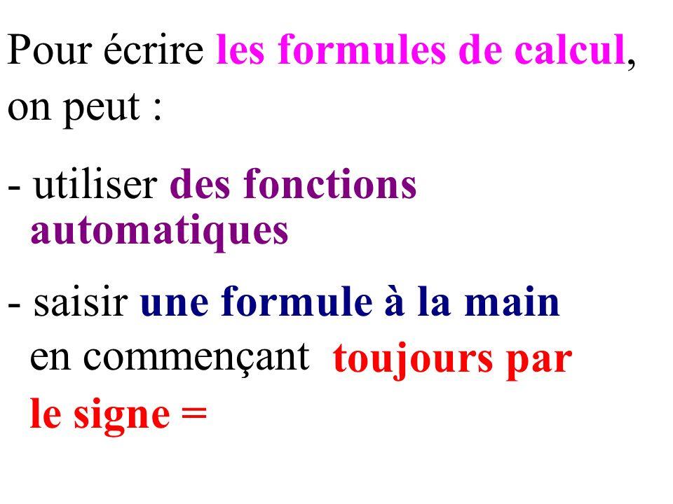 Pour écrire les formules de calcul, on peut : - saisir une formule à la main en commençant toujours par - utiliser des fonctions automatiques le signe