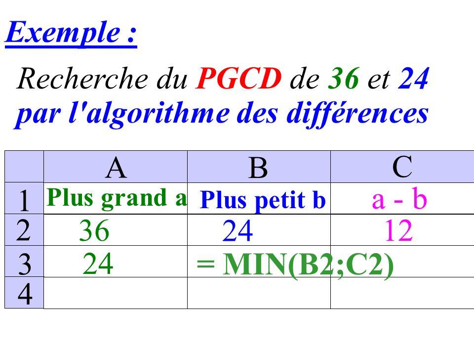 Exemple : Recherche du PGCD de 36 et 24 par l algorithme des différences 36 Plus grand a Plus petit b a - b 24 A B C 1 2 3 4 =A1-B1 12 24 12=A3-B3 Obtenu encopiant la cellule C2