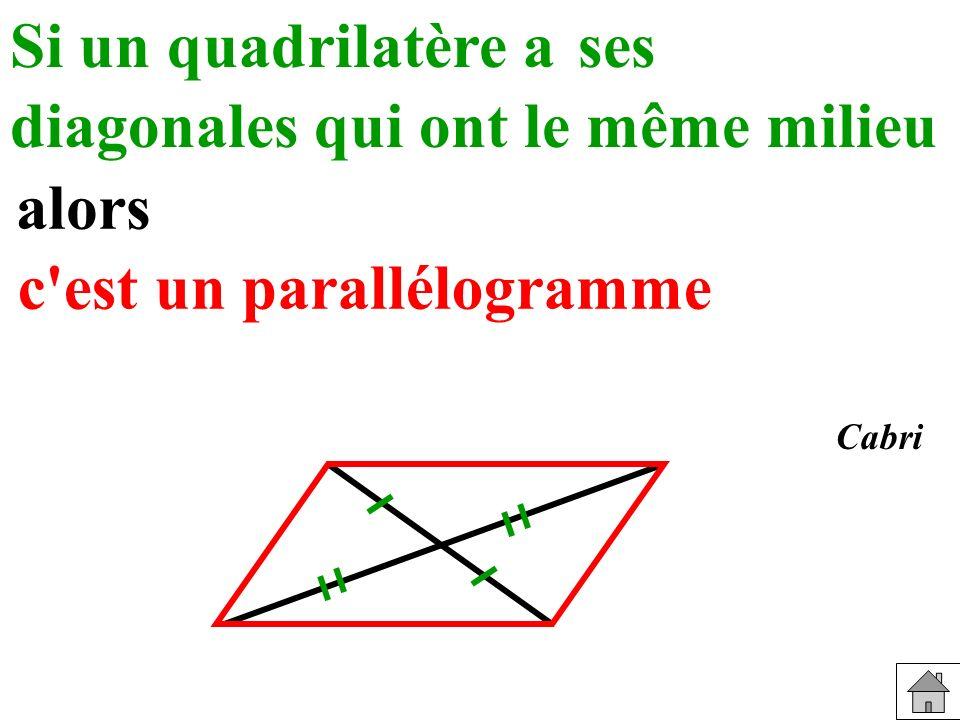 Si un quadrilatère a Reconnaître diagonales qui ont le même milieu alors c est un parallélogramme ses Cabri