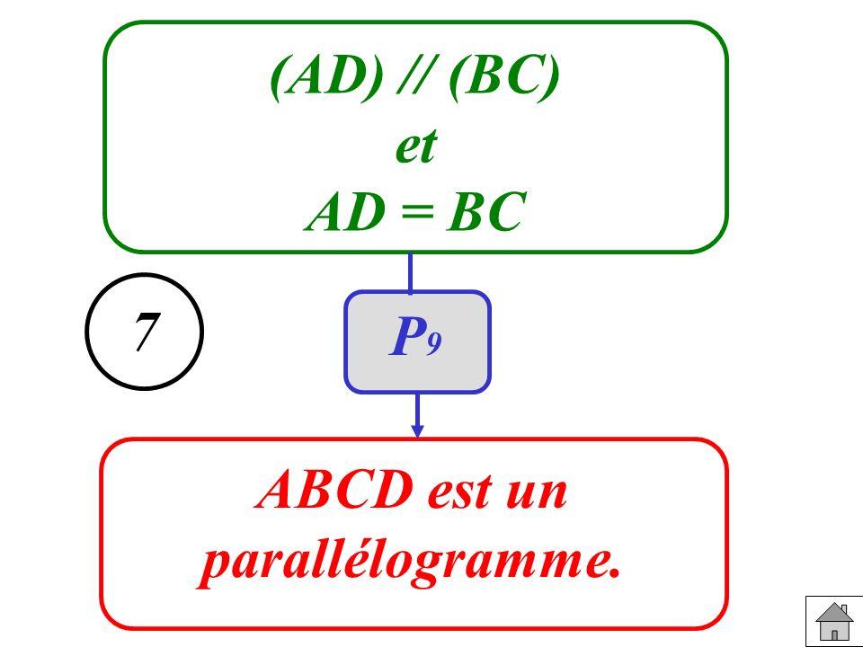 (AD) // (BC) et AD = BC ABCD est un parallélogramme. 7 P9P9