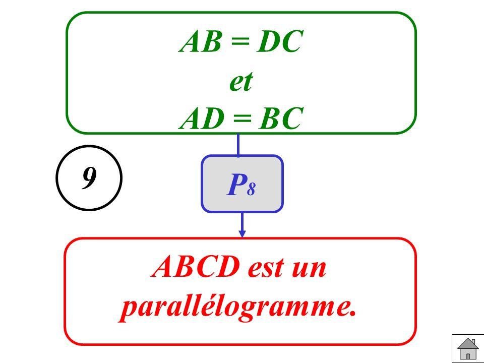 AB = DC et AD = BC ABCD est un parallélogramme. 9 P8P8