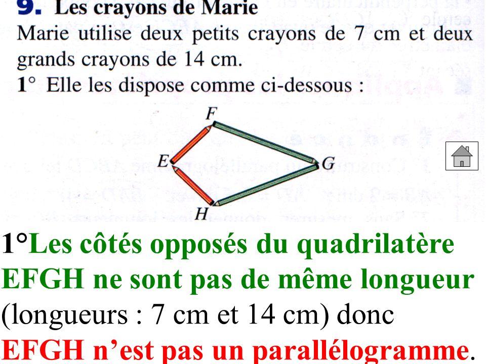 1°Les côtés opposés du quadrilatère EFGH ne sont pas de même longueur (longueurs : 7 cm et 14 cm) donc EFGH nest pas un parallélogramme.