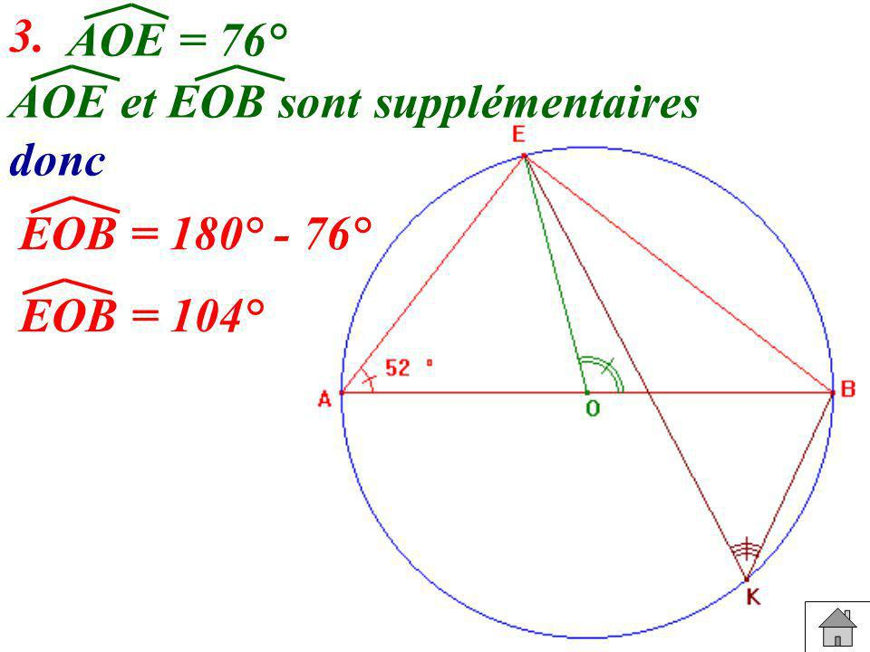 3. AOE = 76° AOE et EOB sont supplémentaires donc EOB = 180° - 76° EOB = 104°
