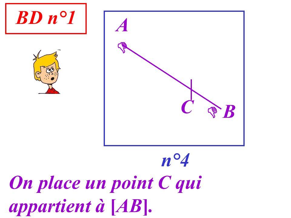 BD n°1 n°4 A On place un point C qui appartient à [AB]. B C