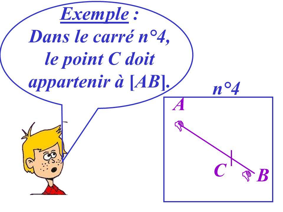 Exemple : Dans le carré n°4, le point C doit appartenir à [AB]. n°4 A B C