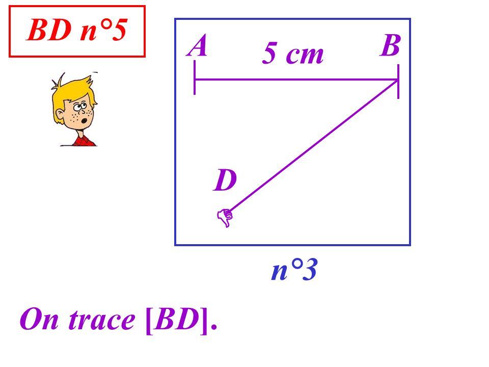 BD n°5 n°3 A On trace [BD]. B 5 cm D