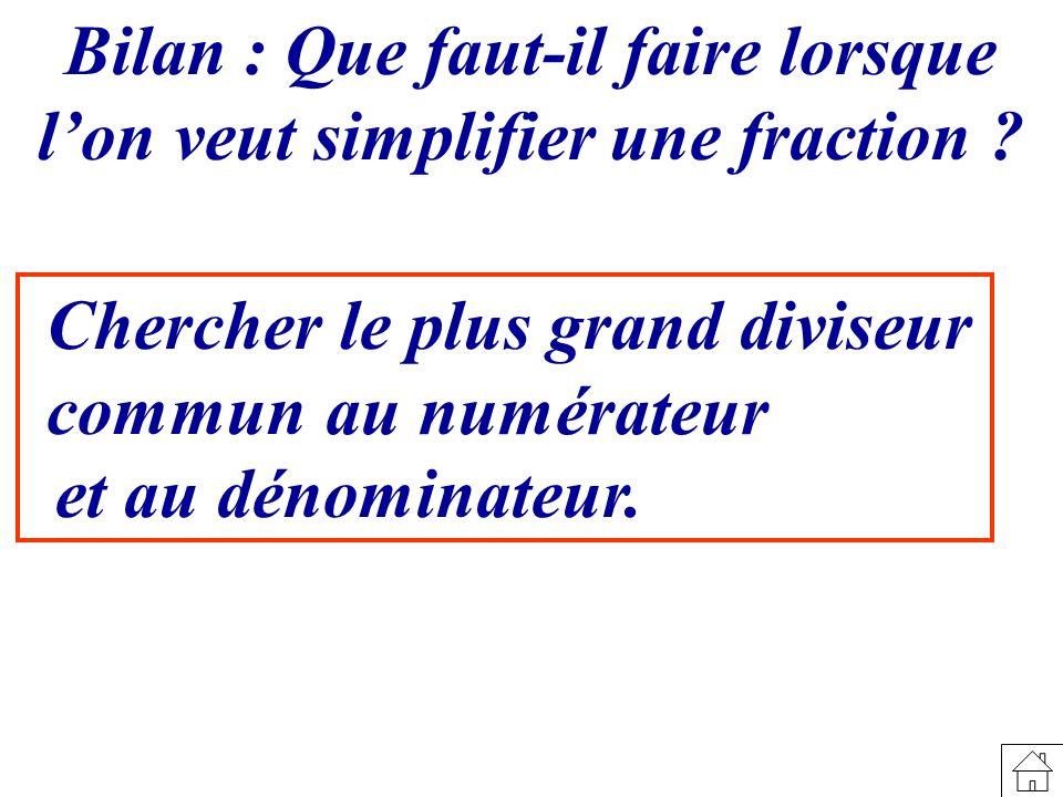 Chercher le plus grand diviseur commun Bilan : Que faut-il faire lorsque lon veut simplifier une fraction ? au numérateur et au dénominateur.