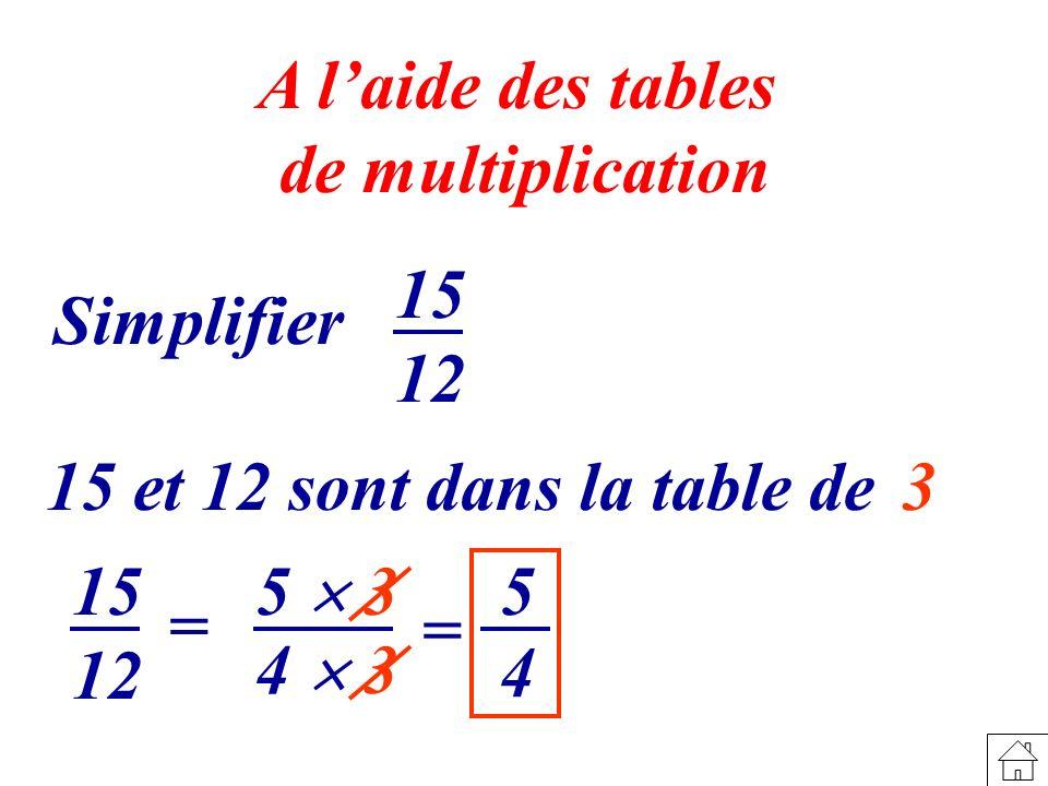 4 5 5 3 A laide des tables de multiplication Simplifier 15 12 15 et 12 sont dans la table de 3 15 12 = 4 3 =
