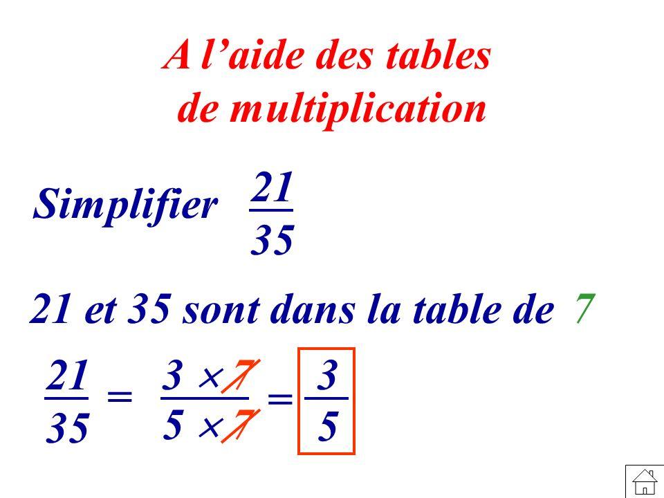 5 3 3 7 A laide des tables de multiplication Simplifier 21 35 21 et 35 sont dans la table de 7 21 35 = 5 7 =