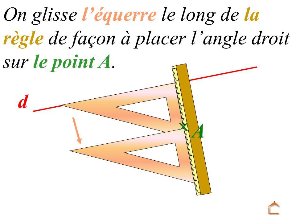 d On glisse l équerre le long de la règle de façon à placer l angle droit sur le point A. A