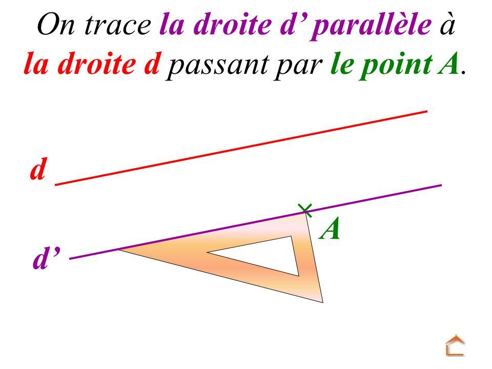 d A On trace la droite d parallèle à la droite d passant par le point A. d