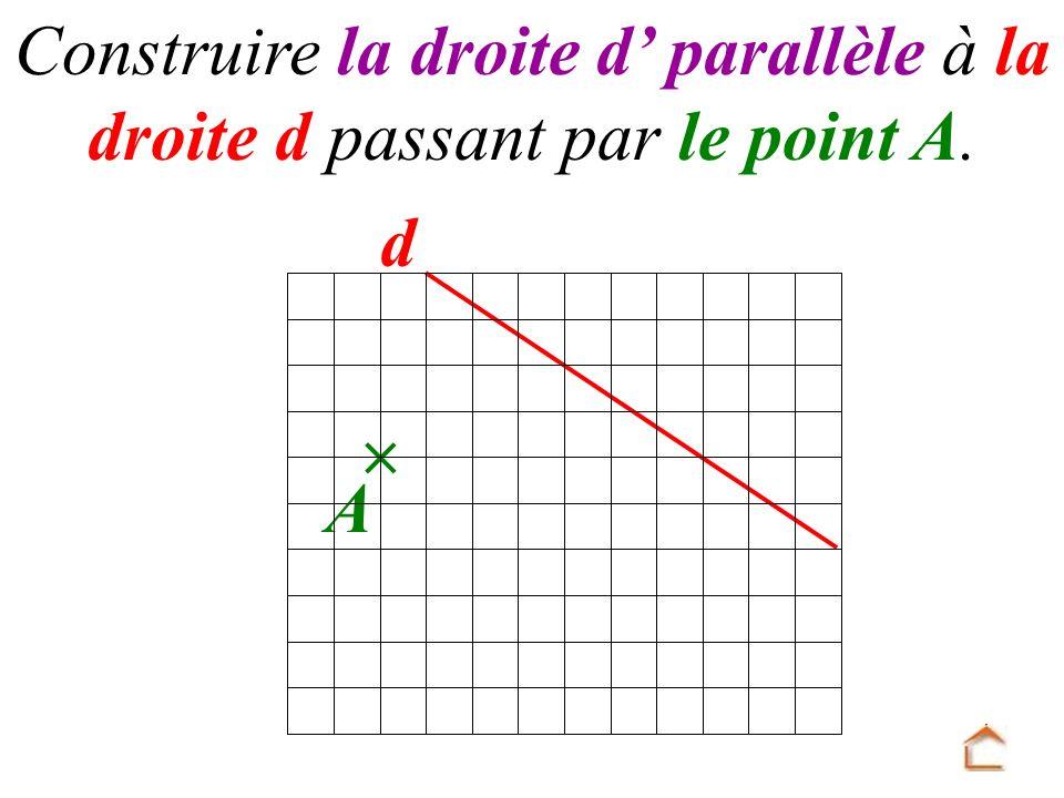d A Construire la droite d parallèle à la droite d passant par le point A.