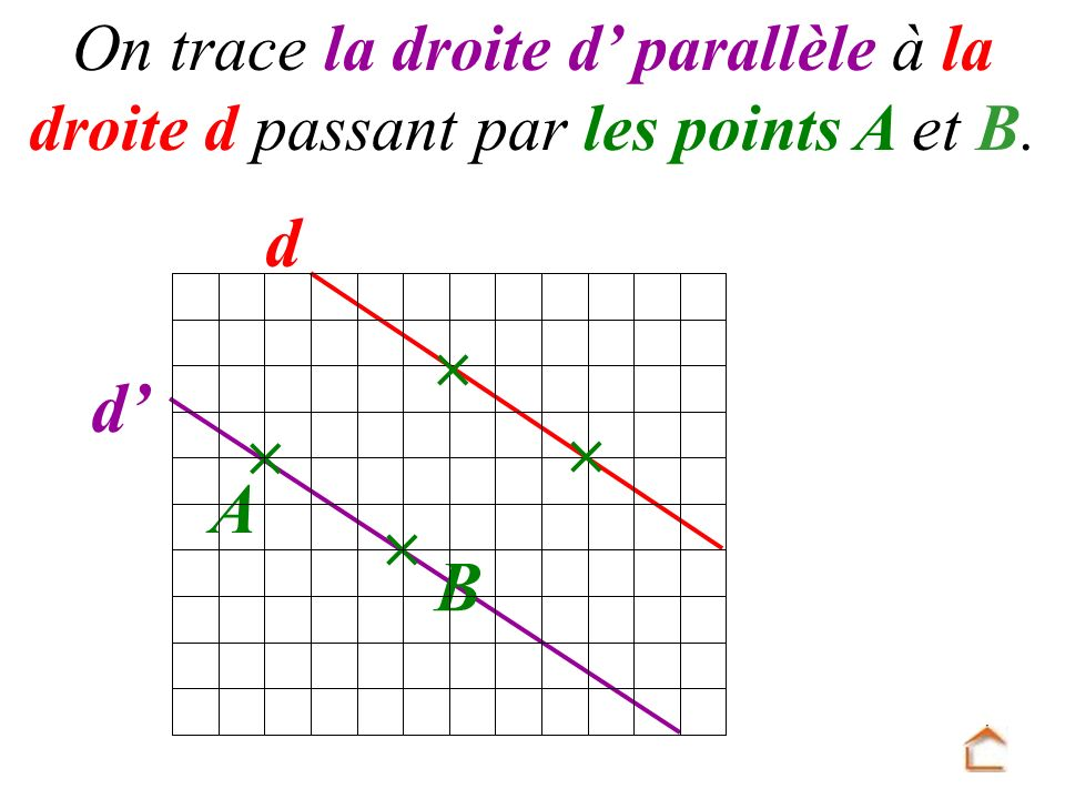 d On trace la droite d parallèle à la droite d passant par les points A et B. B d A