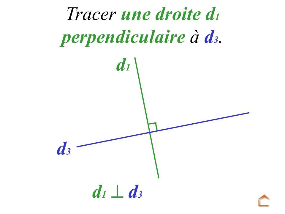 d 1 d3d3 Tracer une droite d 1 perpendiculaire à d 3. d 1 d 3