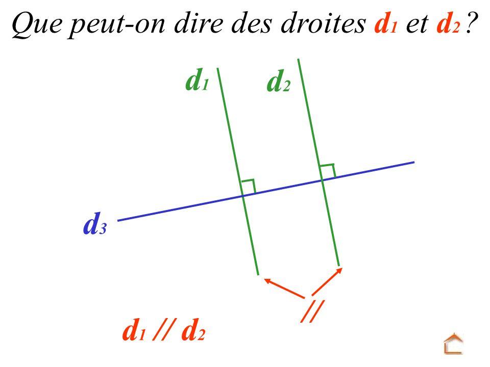 d1d1 d3d3 d2d2 Que peut-on dire des droites d 1 et d 2 ? d 1 // d 2 //