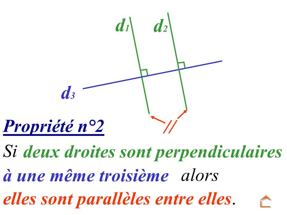 Propriété n°2 elles sont parallèles entre elles. Si deux droites sont perpendiculaires alors à une même troisième d1d1 d3d3 d2d2
