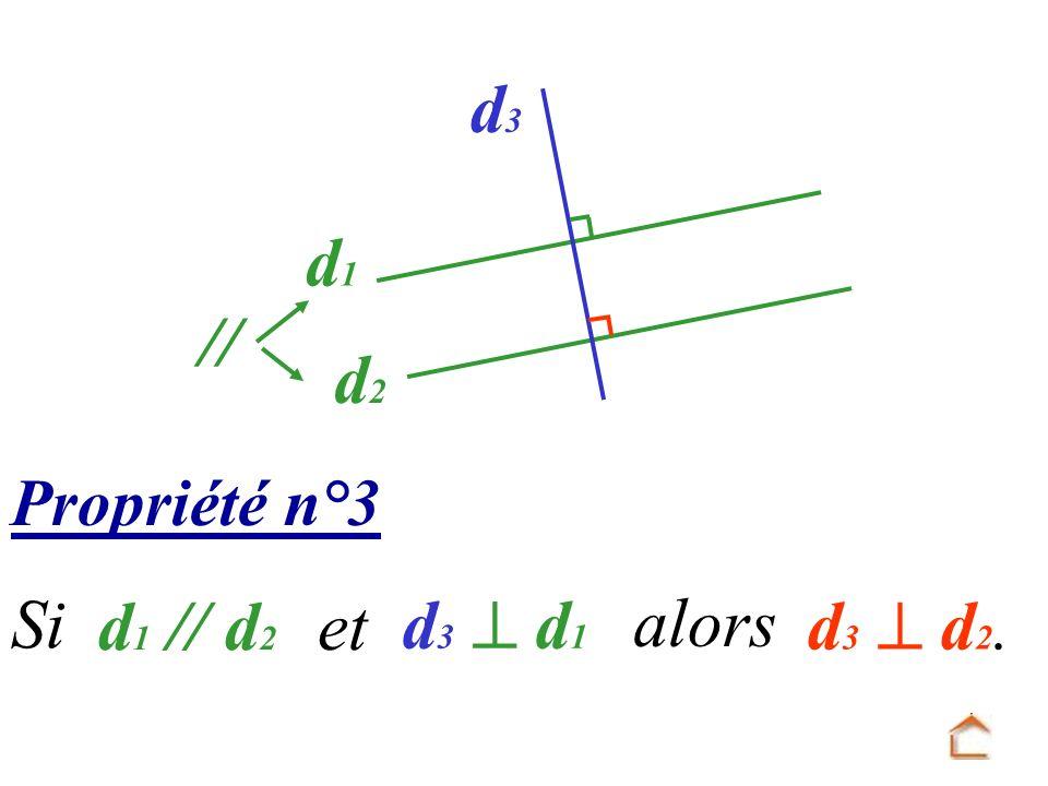 Propriété n°3 d 3 d 2. Si d 1 // d 2 et d 3 d 1 d1d1 d2d2 d3d3 // alors