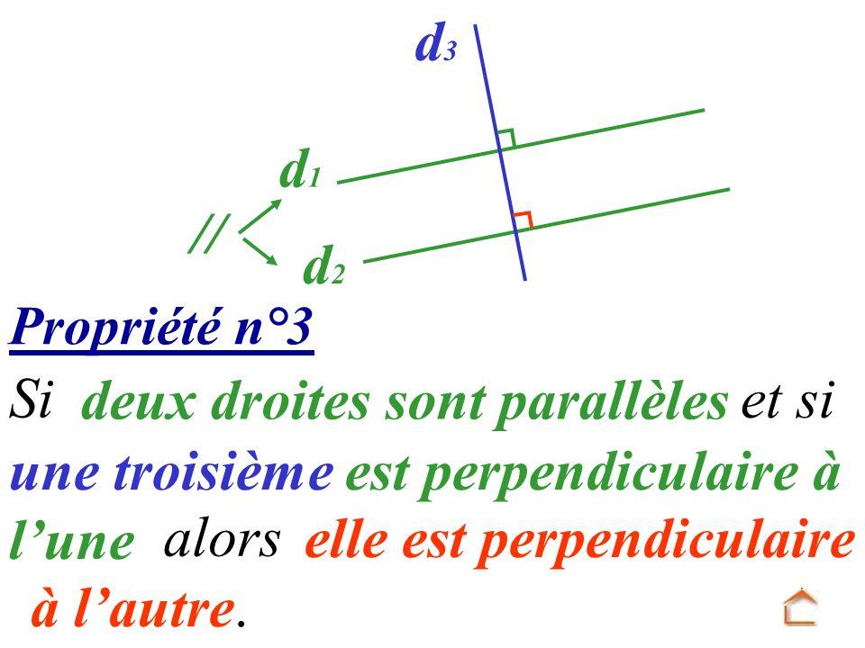 Propriété n°3 elle est perpendiculaire à lautre. Si deux droites sont parallèles et si une troisième est perpendiculaire à lune d1d1 d2d2 d3d3 // alor