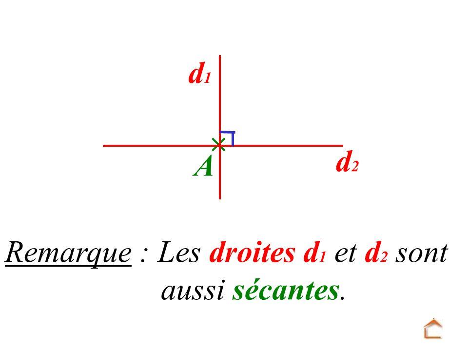 Remarque : Les droites d 1 et d 2 sont aussi sécantes. d1d1 d2d2 A