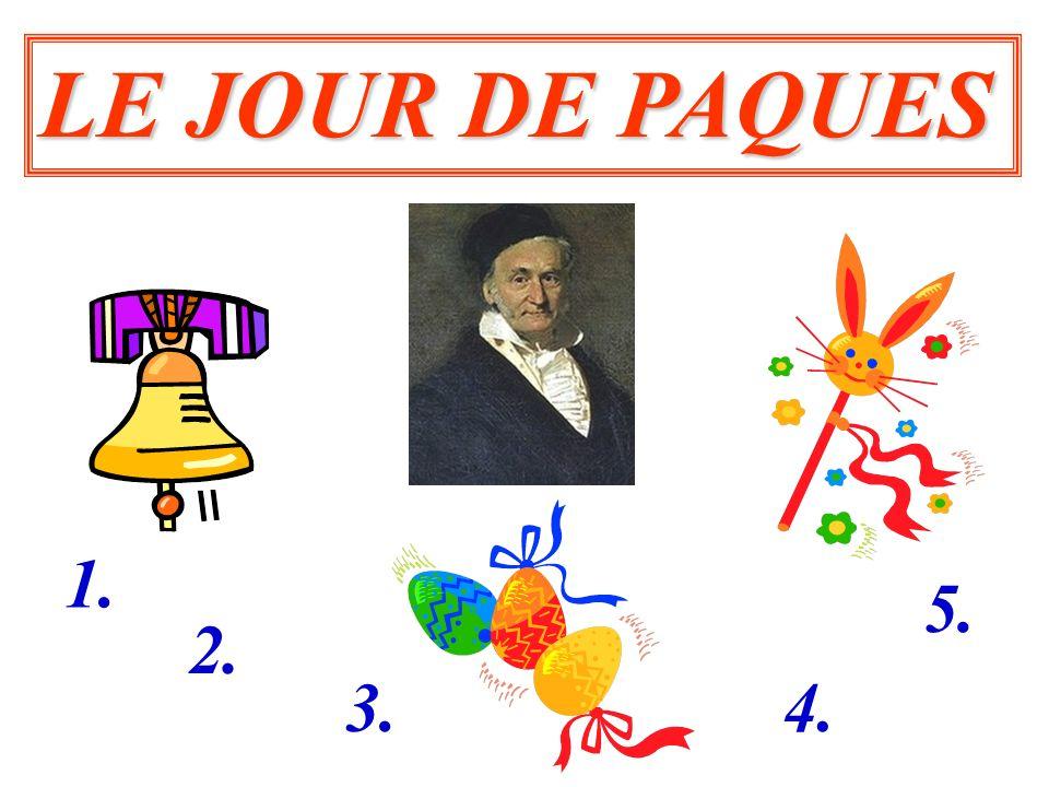 CALCULER LE JOUR DE PAQUES SELON LA METHODE DE GAUSS En 1800, Carl Friedrich Gauss donne des formules permettant de calculer le jour de Pâques.Pâques Voici les formules simplifiées, valables de 1900 à 2099.