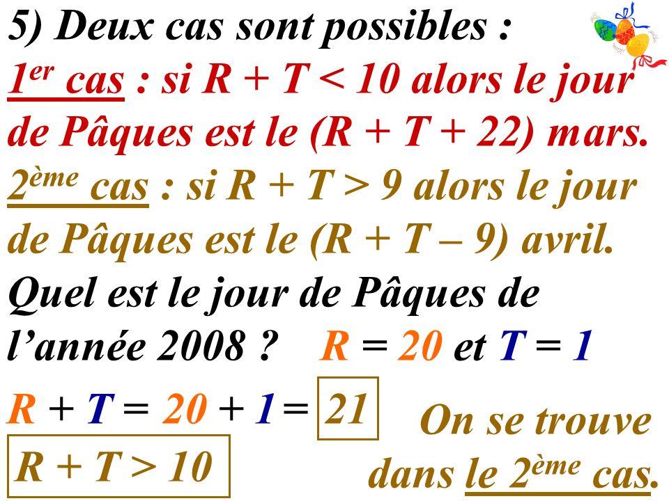 5) Deux cas sont possibles : 1 er cas : si R + T < 10 alors le jour de Pâques est le (R + T + 22) mars. 2 ème cas : si R + T > 9 alors le jour de Pâqu