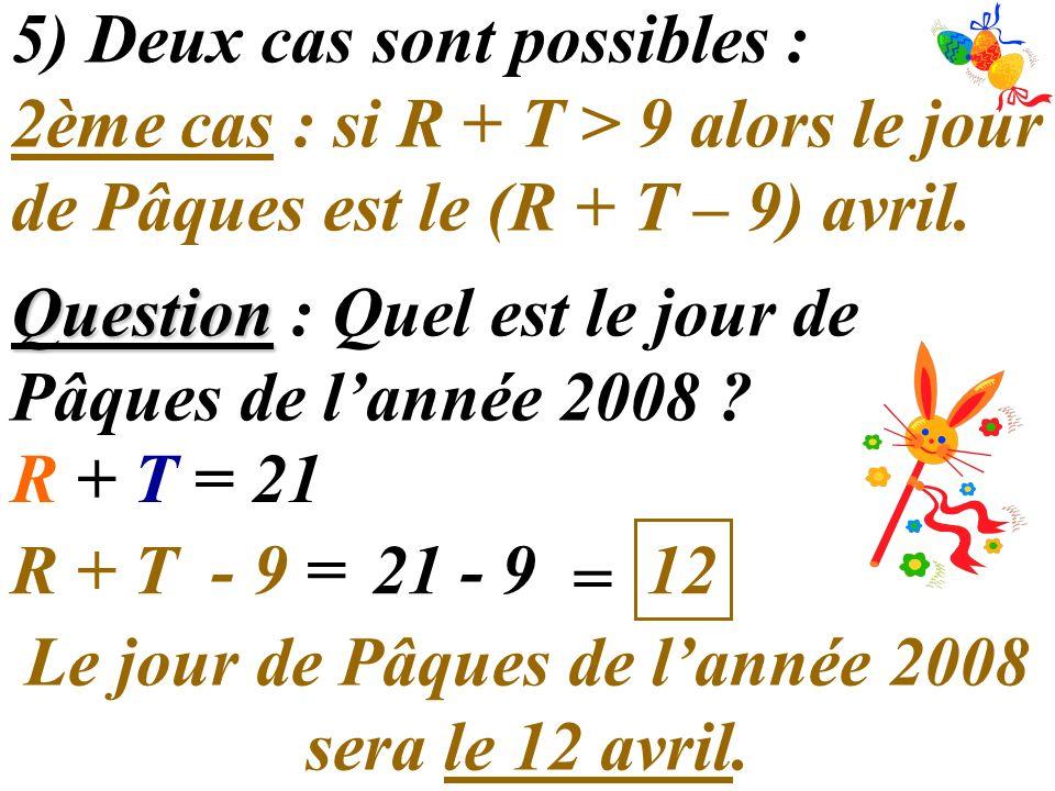 5) Deux cas sont possibles : 2ème cas : si R + T > 9 alors le jour de Pâques est le (R + T – 9) avril. Question Question : Quel est le jour de Pâques