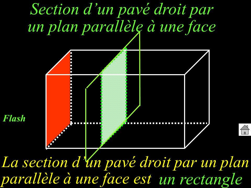 Section dun pavé droit par un plan parallèle à une face La section dun pavé droit par un plan parallèle à une face est un rectangle Flash