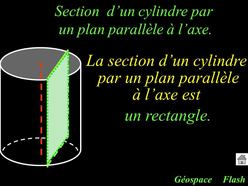 Section dun cylindre par un plan parallèle à laxe. Géospace La section dun cylindre par un plan parallèle à laxe est un rectangle. Flash