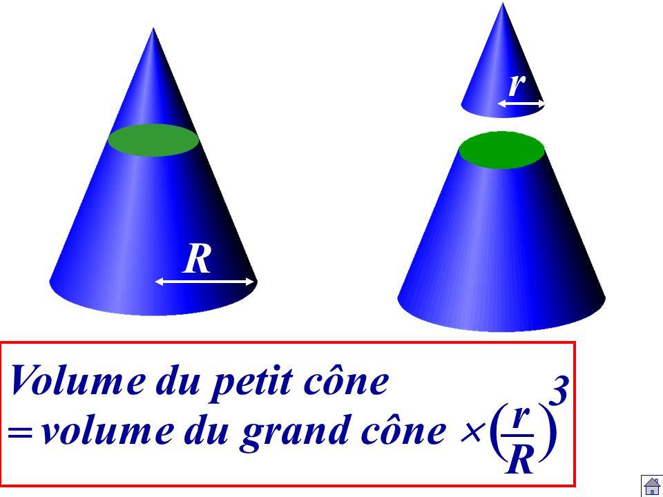 Volume du petit cône = rRrR R r () 3 volume du grand cône